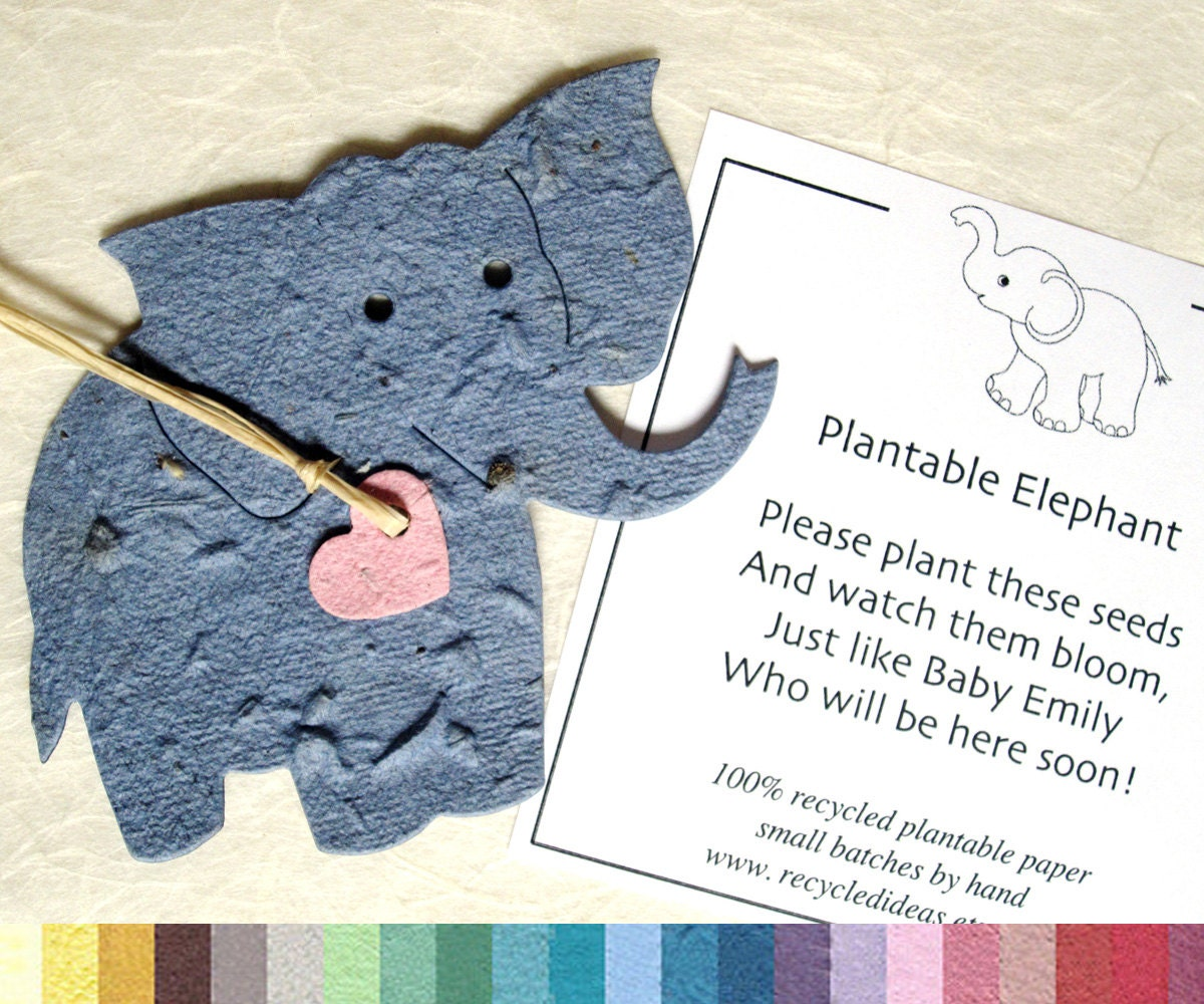 25 Flower Seed Elephant Baby Shower Favors Plantable Paper