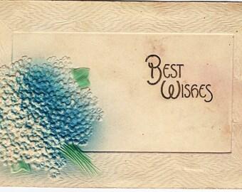 1907 Old Vintage Postcard, Blue Flower, Linton, Indiana, 1c Stamp