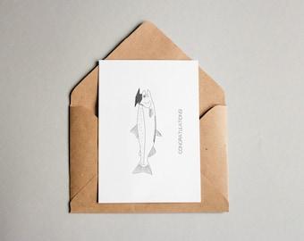 Graduation Salmon Greetings Card