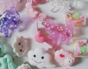 Lucky Dip, 10, kawaii, childrens party, party bag filler, brooch, brooches,hair slides,pony, rainbow, by NewellsJewels on etsy