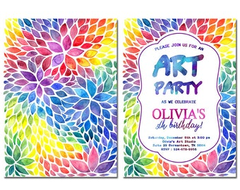 Art paint party invitations printable birthday invitation art party invitation painting birthday party invitation printable birthday invitation colorful invitation art birthday colorful party stopboris Images