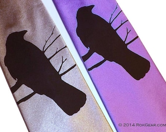 RokGear Necktie - Mens necktie Crow Raven design available in 59 different necktie colors
