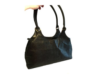 """Vintage Embossed Leather Handbag, Black Embossed Purse,Great American Leatherworks, Soft, High Quality, Brass, Divided Sections, 10"""" Drop"""