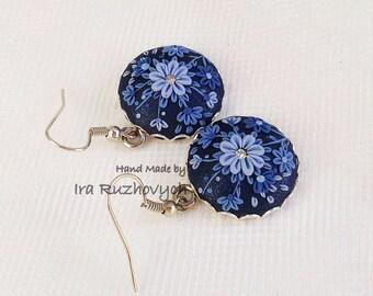 Polymer Clay Filigree Earrings - - Boho Jewelry -- Dangle earrings