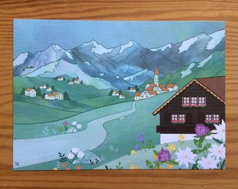 A6 Postcard Size, Switzerland Landscape Illustration Print