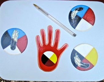 Medicine Wheel Magnets, your Choice of One , native inspired