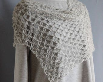 Women's Poncho Delicate Cape openwork crocheted mohair yarn with acrylic color steel Handmade poncho on shoulders wraps