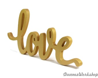 Attractive Love Sign Wedding Decor Script Love Sign Elegant Love Sign Sweetheart Table  Gold Love Sign Home