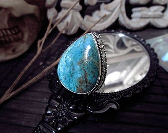 Silver Turquoise Ring, Antique Ring, Carved Ring, Real Turquoise, Chunky Ring, Tear Drop Ring, Size 8 Ring