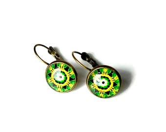 Mandala Art, Yellow Green Mandala Earrings, Leverback Earrings, Mandala Jewelry, Drop Earrings