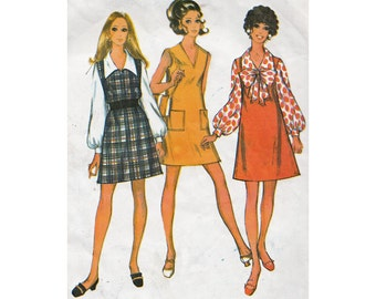 Easy 60s Mini Dress, Jumper and Blouse McCalls 9805 Bust 34 Step by Step Vintage Sewing Pattern V Neck/ Big Collar Blouse/Big Bow Neckline