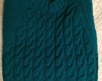 Beautiful deep green cable knit pullover
