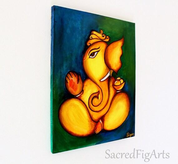 Original Acrylic Painting Ganesha Canvas Art Indian Hindu God Modern Ganesh Wall Elephant
