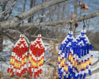 Red/Blue Native American Beaded Earrings