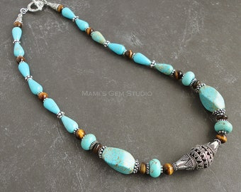 Teal Magnesite and Tiger Eye Necklace, Blue and Brown Gemstone Handmade Jewelry, Antiqued Silver Metal Accents