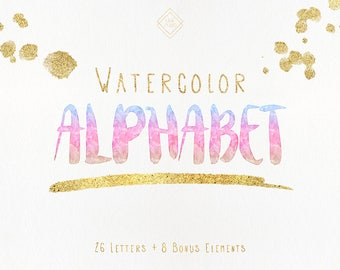Watercolor Alphabet Clipart - Rainbow Font Letter Clip Art Alphabet - Digital Alphabet - Alphabet Letters - Alphabet Set - Pink Blue Gold
