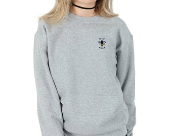 Bee Nice Pocket Sweater Jumper Top Fashion Sweatshirt Grunge Cute Be