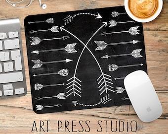 Tribal Arrows on Chalkboard Mouse Pad, Arrow Chalk Art Mousepad, Hipster Chalkboard Mouse Pad