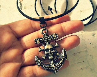 Anchor Pirate Necklace For Men Or Women, Pirate Jewelry, Pirate Jewlery, Pirate Gifts, Pirate Accessories, Skull And Crossbones Necklace