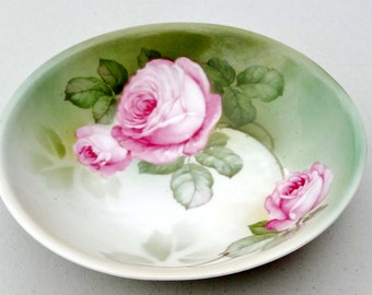 Made in Germany Serving Bowl White with Pink Roses and a Green Band Porcelain Home and Garden Kitchen and Dining Serve Ware Tableware Bowls