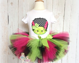 Girly Frankenstein Tutu Outfit- Halloween Costume- Black, Green, and Pink- 1st Halloween- Custom Embroidery