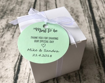 40x Mint To Be White Favour Boxes Personalised Thank You Tags • Wedding Favor Boxes • Wedding Engagement Gift Boxes • Any Texts Custom