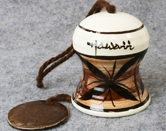 Vintage Kapa Designs Hawaii Ceramic Polynesian Hawaiian Wind Chime Bell