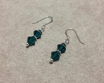 Earrings Emerald Green Sterling Silver Crystals Daisy Spacers Earwires  CL1506
