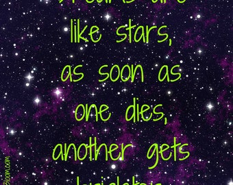 Print Quote/ Dreams are like starts, as soon as one dies, another gets brighter/ Digital Art Print