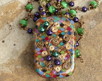 The Spirit of Mardi Gras Altoids Mini Wearable Art Necklace