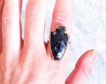 Blue Goldstone Arrowhead and Copper Ring Size 7