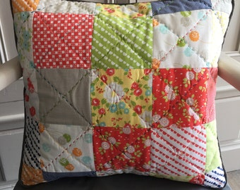 "Patchwork & Hand Quilted Cushion Cover in modern zesty ""Moda"" Fabrics"