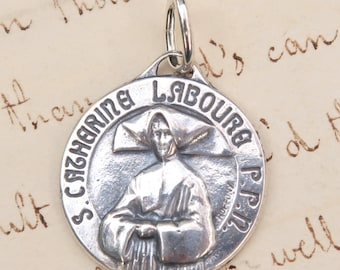 St Catherine Labouré Medal  -  Patron of Waiters and Waitresses  -  Sterling Silver Antique Replica