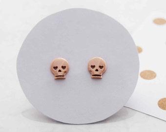 Skull stud earrings, gold stud earrings, rock jewellery, dainty earrings, everyday earrings, minimalist earrings, girlfriend gift, earrings