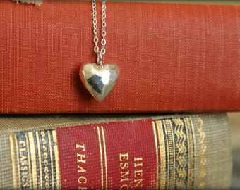 Hammered Puffy Heart Necklace in Sterling Silver
