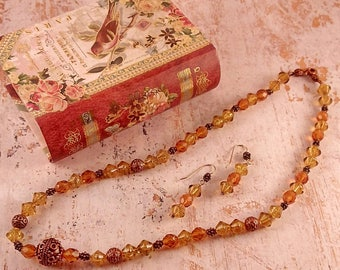Handmade Topaz, Amber, & Antique Copper Necklace Earring Set