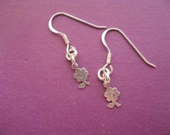 Dainty Flower Earrings, Sterling Silver Charm Earrings, Simple Flower Earrings