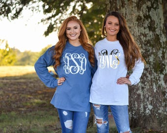 Monogrammed Long Sleeve Shirt, Christmas Gift for Her, Girlfriend Christmas Gift, Gifts under 20 (V)