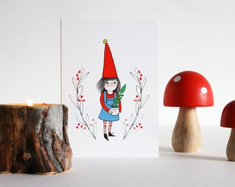 Garden gnome cards. Gardening elf with plant card set of 4. Cute card for plant lover. Scandinavian gnomes. Card for gardener.