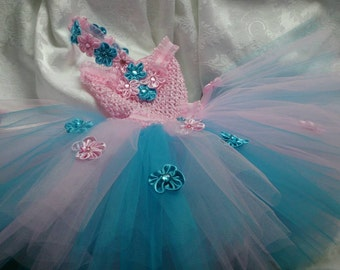 First birthday dress, baby party dress, pink and blue turquoise baby outfit,  cotton candy baby outfit, pink blue baby dress, Birthday tutu