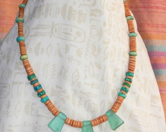Bead necklace - FREE SHIPPING - wood, turquoise, ceramic, and recycled glass Summer in Blue Jeans short