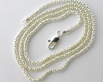 2.5mm thick solid sterling silver popcorn chain  bright silver