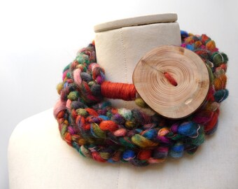 Loop Infinity Scarf Necklace, Crochet Scarflette Neckwarmer - Brown, Orange, Green, Blue, Purple Pink multicolor yarn with giant wood button