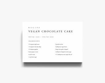 black and white recipe card template