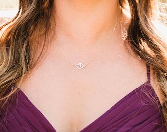 Striped Parallelogram Necklace | ATL-N-103