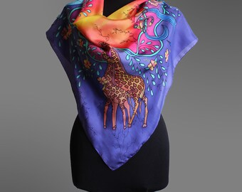 Hand painted silk scarf in tinga tinga art style. Colorful silk scarf. African art scarf. Square silk scarf. Art to wear. Ready to ship.