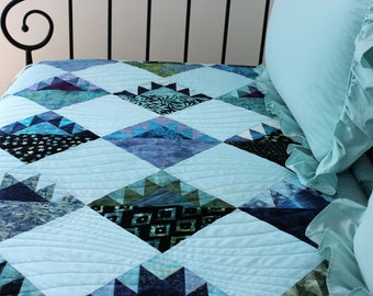 "Beautiful Handmade Patchwork Batik Twin Quilt, Daybed Quilt, Throw Quilt, Generous Lap Quilt, 58"" x 79"", ""Sawtooth Mountains"""