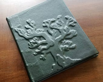 Full Leather Bound Leather with Deep Green Tree Design Journal 200 pgs