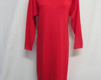 St John's Knit Red Dress 1980 Knit Dress Santana Knit Size 8