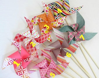 Birthday Favors Baby Shower Favors Paper Pinwheels Table Centerpiece Photo Prop Photo Background Girl's Birthday Decorations Party Favor